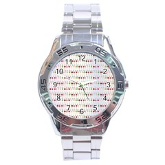 Wine Glass Pattern Stainless Steel Analogue Watch