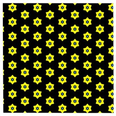 Pattern Yellow Stars Black Background Wooden Puzzle Square by Simbadda