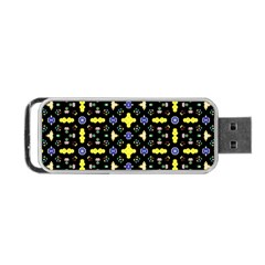 Pattern Black Background Texture Portable Usb Flash (two Sides) by Simbadda