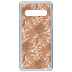 Scrapbook Leaves Decorative Samsung Galaxy S10 Seamless Case(white) by Simbadda