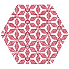 White Background Red Flowers Texture Wooden Puzzle Hexagon