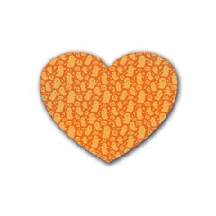 Halloween Background Heart Coaster (4 Pack)  by Simbadda
