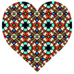 Stained Glass Pattern Texture Face Wooden Puzzle Heart