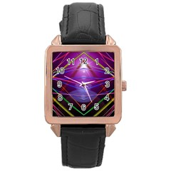 Disco Laser Rays Dance Rose Gold Leather Watch