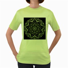 Black And White Pattern Monochrome Lighting Circle Neon Psychedelic Illustration Design Symmetry Women s Green T Shirt