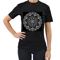 Black And White Pattern Monochrome Lighting Circle Neon Psychedelic Illustration Design Symmetry Women s T Shirt (black) (two Sided) by Vaneshart