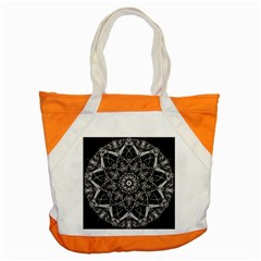 Black And White Pattern Monochrome Lighting Circle Neon Psychedelic Illustration Design Symmetry Accent Tote Bag by Vaneshart