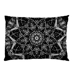Black And White Pattern Monochrome Lighting Circle Neon Psychedelic Illustration Design Symmetry Pillow Case (two Sides)