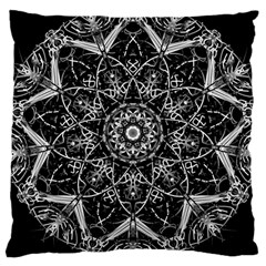 Black And White Pattern Monochrome Lighting Circle Neon Psychedelic Illustration Design Symmetry Large Cushion Case (two Sides) by Vaneshart