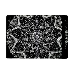 Black And White Pattern Monochrome Lighting Circle Neon Psychedelic Illustration Design Symmetry Apple Ipad Mini Flip Case by Vaneshart