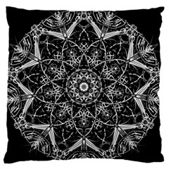 Black And White Pattern Monochrome Lighting Circle Neon Psychedelic Illustration Design Symmetry Standard Flano Cushion Case (one Side) by Vaneshart