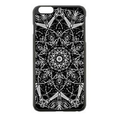 Black And White Pattern Monochrome Lighting Circle Neon Psychedelic Illustration Design Symmetry Iphone 6 Plus/6s Plus Black Enamel Case