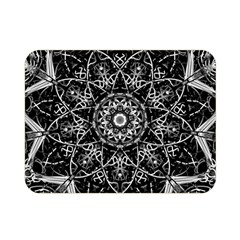 Black And White Pattern Monochrome Lighting Circle Neon Psychedelic Illustration Design Symmetry Double Sided Flano Blanket (mini)