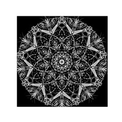 Black And White Pattern Monochrome Lighting Circle Neon Psychedelic Illustration Design Symmetry Small Satin Scarf (square)