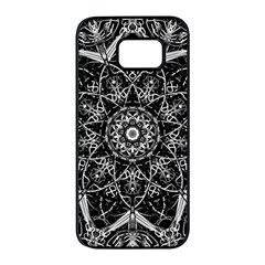Black And White Pattern Monochrome Lighting Circle Neon Psychedelic Illustration Design Symmetry Samsung Galaxy S7 Edge Black Seamless Case by Vaneshart