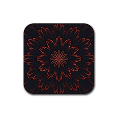 Abstract Glowing Flower Petal Pattern Red Circle Art Illustration Design Symmetry Digital Fantasy Rubber Coaster (square)  by Vaneshart