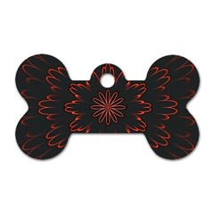 Abstract Glowing Flower Petal Pattern Red Circle Art Illustration Design Symmetry Digital Fantasy Dog Tag Bone (one Side)