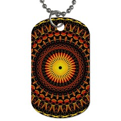 Spiral Pattern Circle Neon Psychedelic Illustration Design Symmetry Shape Mandala Dog Tag (one Side) by Vaneshart