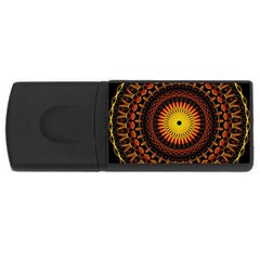 Spiral Pattern Circle Neon Psychedelic Illustration Design Symmetry Shape Mandala Rectangular Usb Flash Drive by Vaneshart