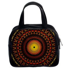 Spiral Pattern Circle Neon Psychedelic Illustration Design Symmetry Shape Mandala Classic Handbag (two Sides) by Vaneshart