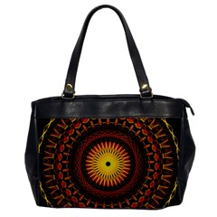 Spiral Pattern Circle Neon Psychedelic Illustration Design Symmetry Shape Mandala Oversize Office Handbag by Vaneshart