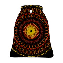 Spiral Pattern Circle Neon Psychedelic Illustration Design Symmetry Shape Mandala Bell Ornament (two Sides) by Vaneshart