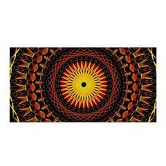 Spiral Pattern Circle Neon Psychedelic Illustration Design Symmetry Shape Mandala Satin Wrap