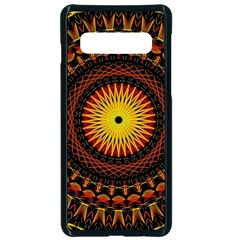 Spiral Pattern Circle Neon Psychedelic Illustration Design Symmetry Shape Mandala Samsung Galaxy S10 Seamless Case(black) by Vaneshart