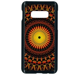 Spiral Pattern Circle Neon Psychedelic Illustration Design Symmetry Shape Mandala Samsung Galaxy S10e Seamless Case (black) by Vaneshart