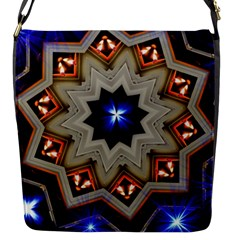 Light Abstract Structure Star Pattern Toy Circle Christmas Decoration Background Design Symmetry Flap Closure Messenger Bag (s) by Vaneshart