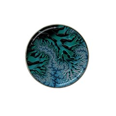 Creative Wing Abstract Texture River Stream Pattern Green Geometric Artistic Blue Art Aqua Turquoise Hat Clip Ball Marker by Vaneshart