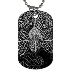 Black And White Plant Leaf Flower Pattern Line Black Monochrome Material Circle Spider Web Design Dog Tag (two Sides) by Vaneshart
