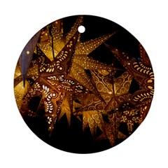 Star Decoration Christmas Christmas Decoration Symmetry Christmas Lights Fractal Art Luminous Stars Round Ornament (two Sides)