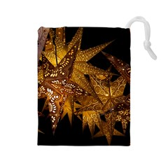 Star Decoration Christmas Christmas Decoration Symmetry Christmas Lights Fractal Art Luminous Stars Drawstring Pouch (large)