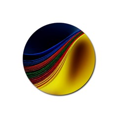 Abstract Spiral Wave Line Color Colorful Yellow Paper Still Life Circle Font Illustration Design Rubber Round Coaster (4 Pack)