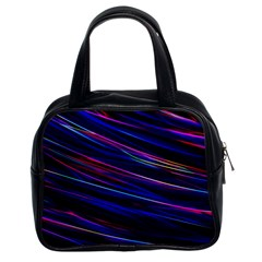 Nightlife Neon Techno Black Lamp Motion Green Street Dark Blurred Move Abstract Velocity Evening Tim Classic Handbag (two Sides)