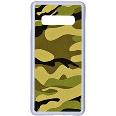 Fabric Army Camo Pattern Samsung Galaxy S10 Plus Seamless Case(white)