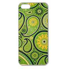 Texture Leaf Pattern Line Green Color Colorful Yellow Circle Ornament Font Art Illustration Design  Apple Seamless Iphone 5 Case (clear)
