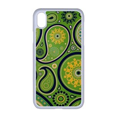 Texture Leaf Pattern Line Green Color Colorful Yellow Circle Ornament Font Art Illustration Design  Iphone Xr Seamless Case (white)