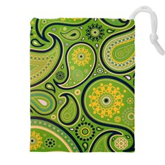 Texture Leaf Pattern Line Green Color Colorful Yellow Circle Ornament Font Art Illustration Design  Drawstring Pouch (xxxl)