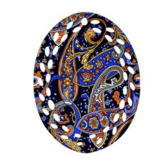 Vintage Retro Texture Decoration Pattern Color Circle Ornament Art Design Bright Symmetry Style  Oval Filigree Ornament (two Sides) by Vaneshart