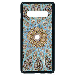 Vintage Flower Floral Pattern Line Tile Circle Art Design Symmetry Mosaic Culture Dome Shape Persian Samsung Galaxy S10 Plus Seamless Case (black) by Vaneshart