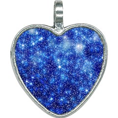 Blurred Star Snow Christmas Spark Heart Necklace by HermanTelo