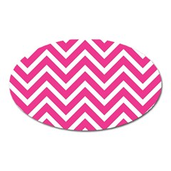 Chevrons Zigzag Pattern Design Pink White Oval Magnet