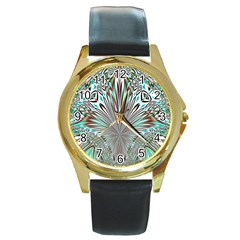 Crystal Design Crystal Pattern Glass Round Gold Metal Watch by Wegoenart