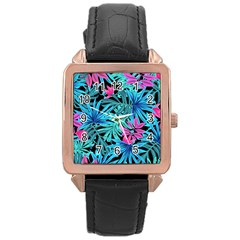 Leaves Picture Tropical Plant Rose Gold Leather Watch