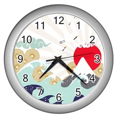 Mountain Sun Japanese Illustration Wall Clock (silver) by Vaneshart