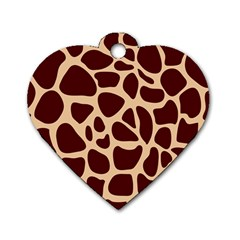 Animal Print Giraffe Patterns Dog Tag Heart (one Side)