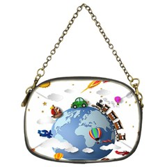 Earth Rocket Vector Earth Chain Purse (two Sides)