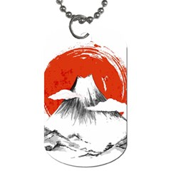 Mount Fuji Mountain Ink Wash Painting Dog Tag (two Sides) by Vaneshart
